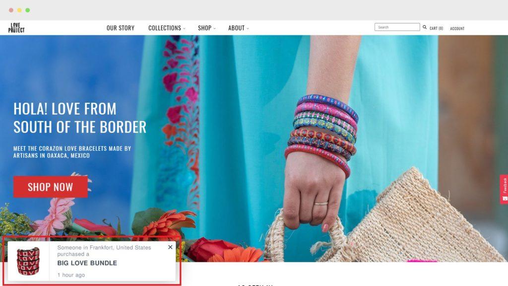 shopify store showing sales pop notification in bottom left corner