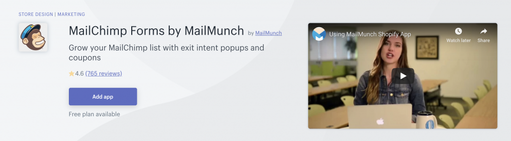 Mailchimp forms by mailmunch app in Shopify app store
