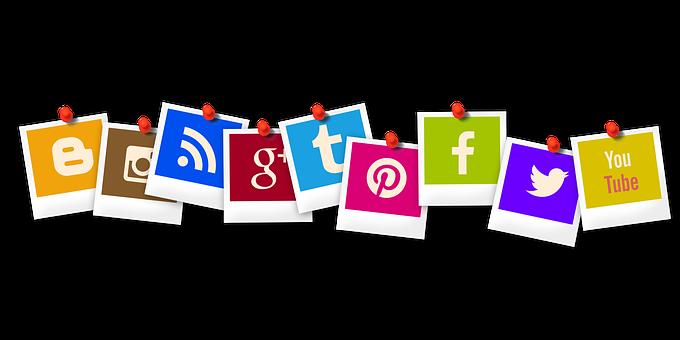 social media icons lined up as polaroid photographs
