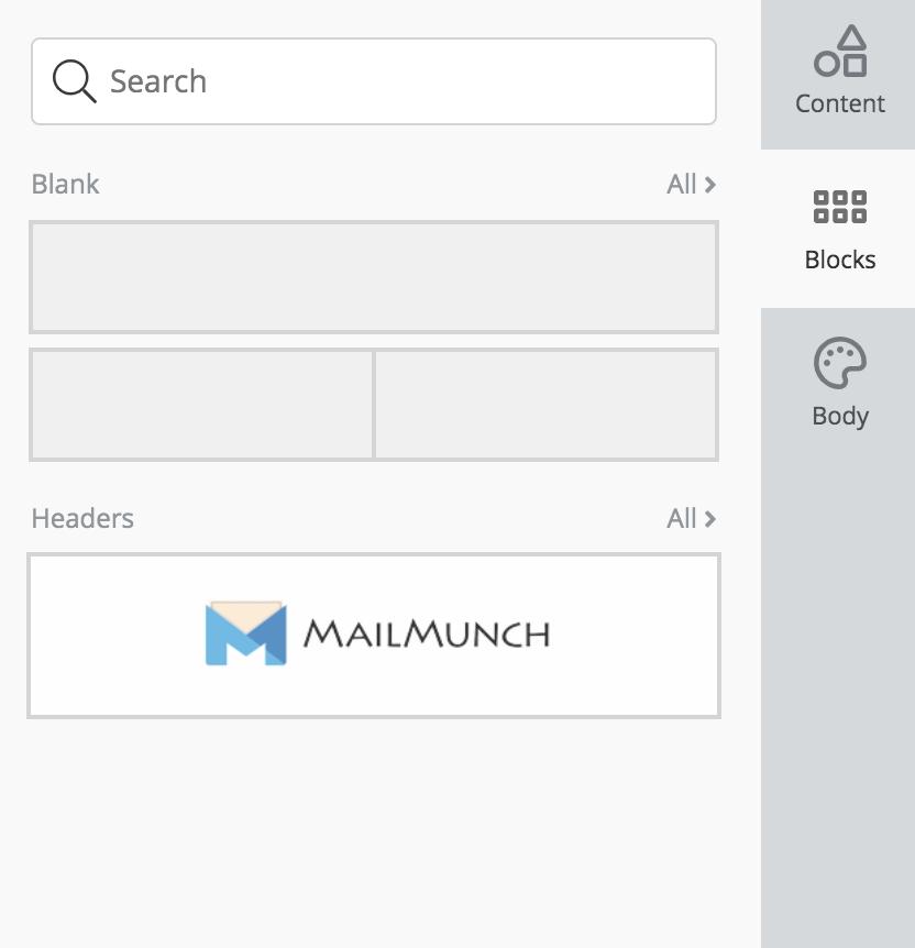 Mailmunch content menu showing resuable blocks under 'Block' pane