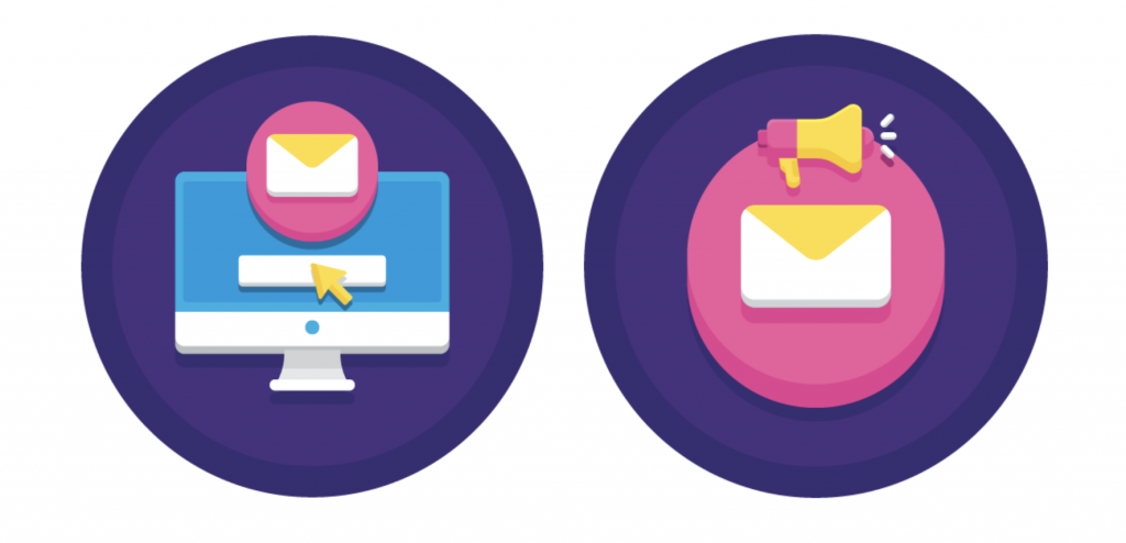 two pictures of a desktop and email icon