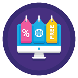desktop icon overlayed with ecommerce symbols
