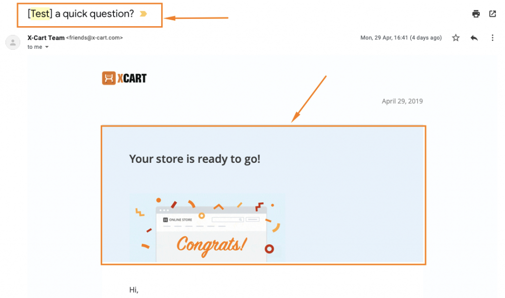 snapshot of x-cart email with html errors