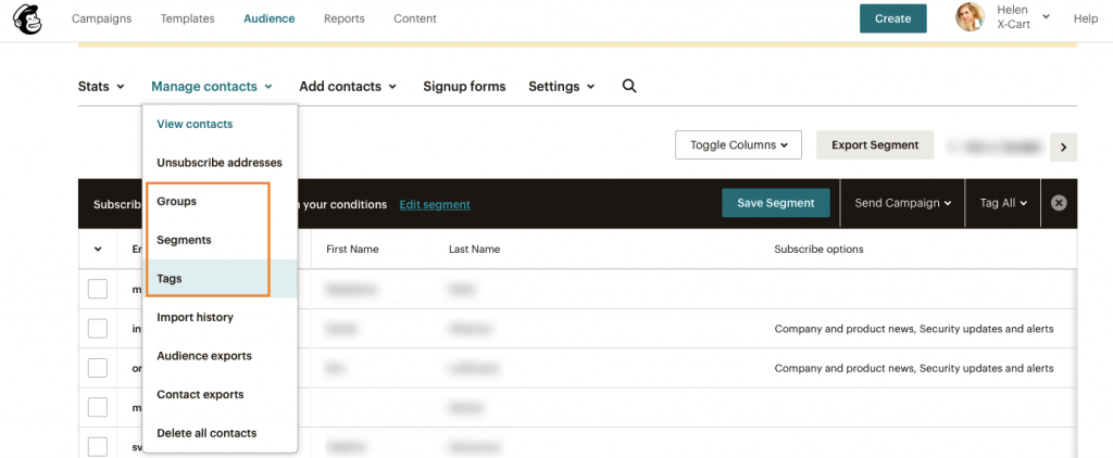 snapshot of mailchimp dashboard showing various contact management options