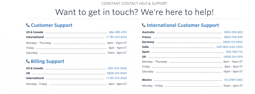 constant contact support page