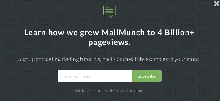 mailmunch popover form