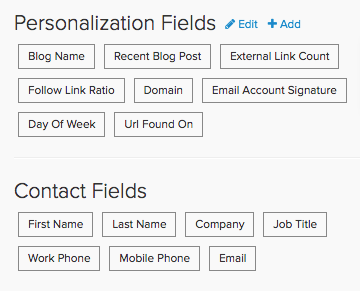 example of personalization options available with email marketing