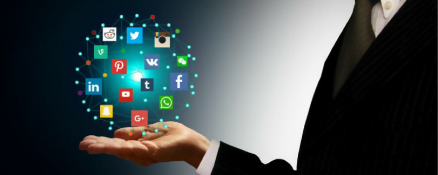 social media icons depicted in the palm of hand