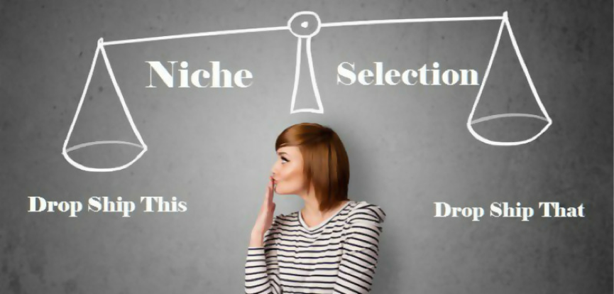 a woman pondering whether to go for niche or selection style dropshipping