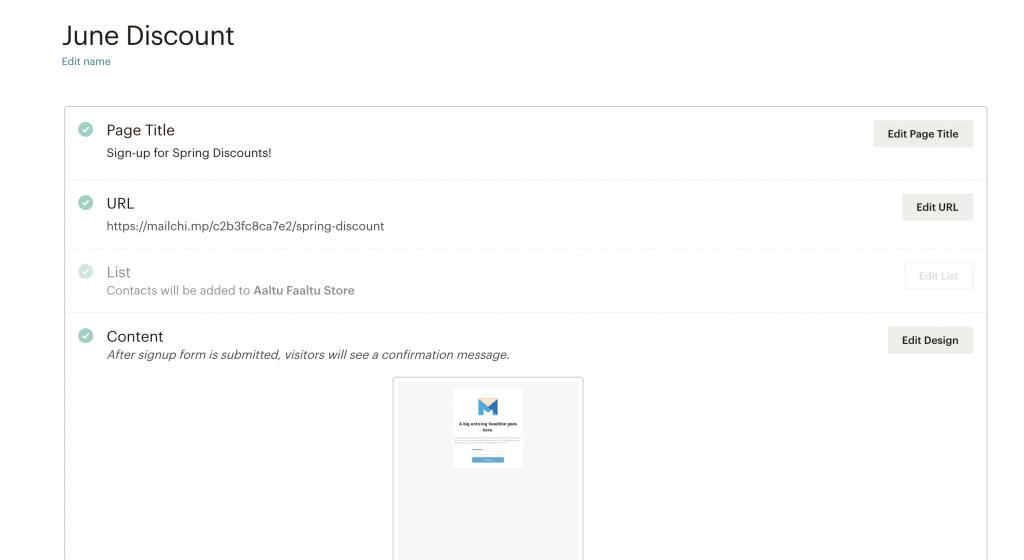 mailchimp landing page editing options
