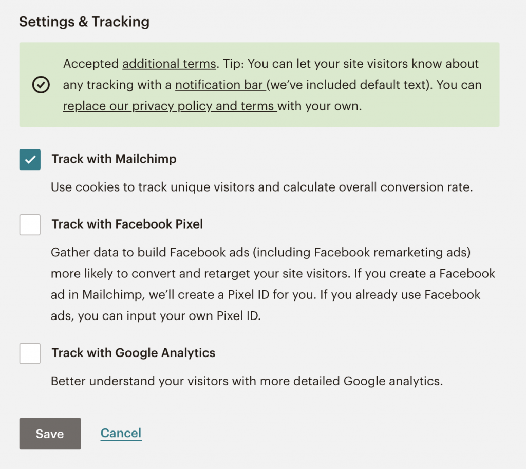 setting and tracking options for mailchimp landing page