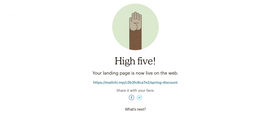 successful landing page completion page
