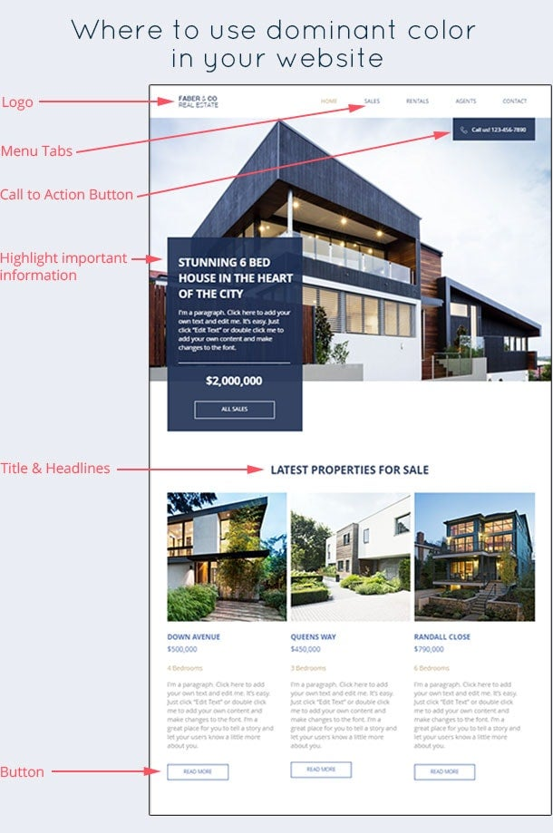 real estate website using blue as its main color