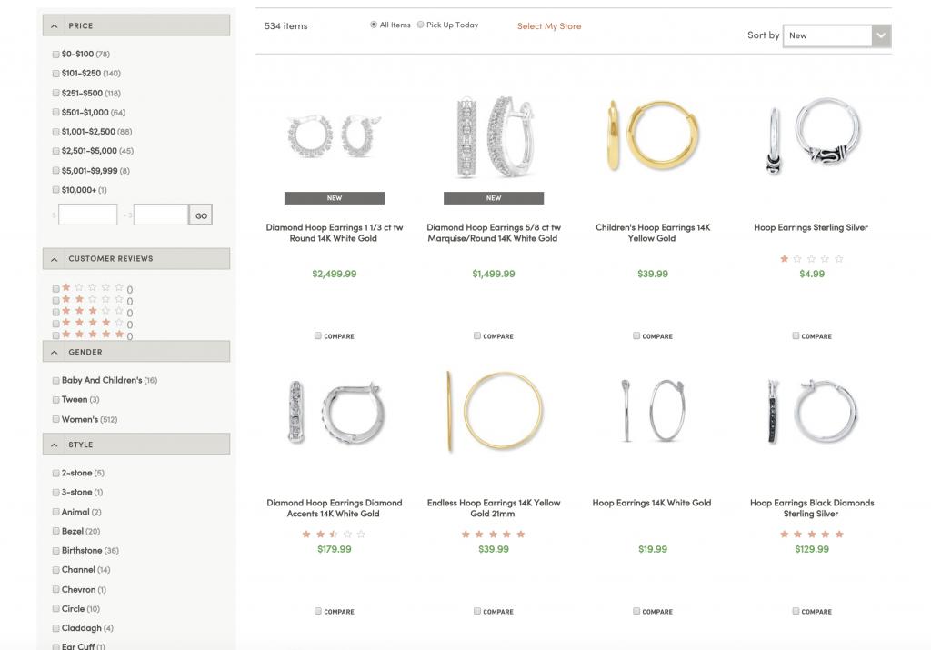 website shows options for faceted navigation on the left side