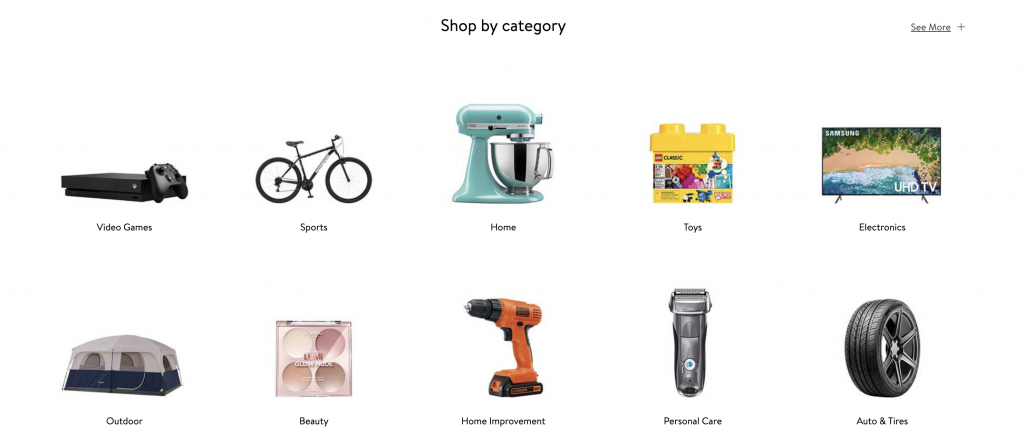 walmart's home page showing different categories using images