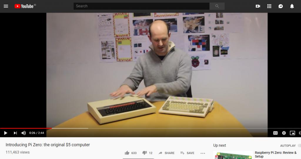 screenshot of Pi Zero youtube ad