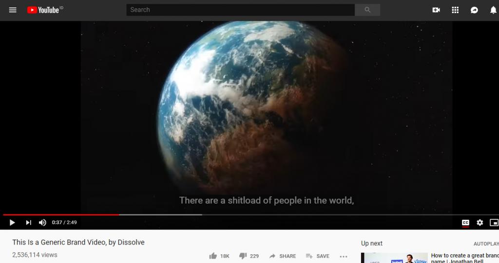 screenshot of Dissolve's parody video on youtube