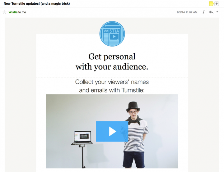 idearocket's email with embedded video