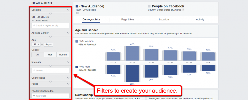 screenshot of facebook audience insights page