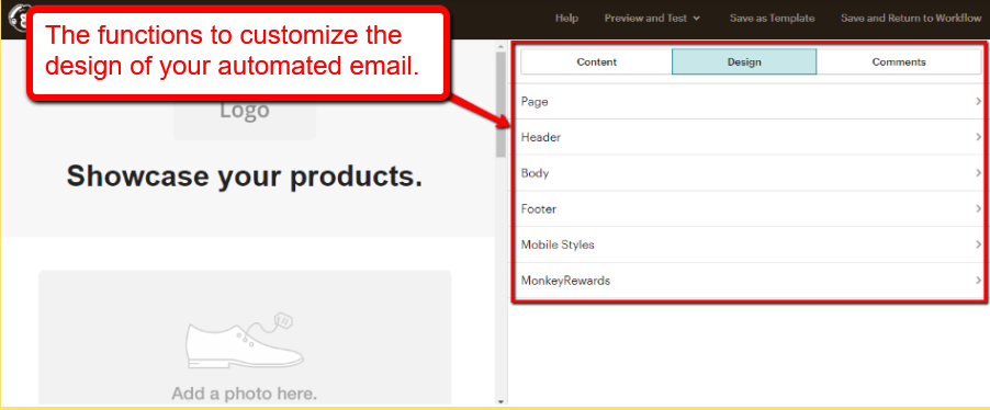 mailchimp email automation design tab