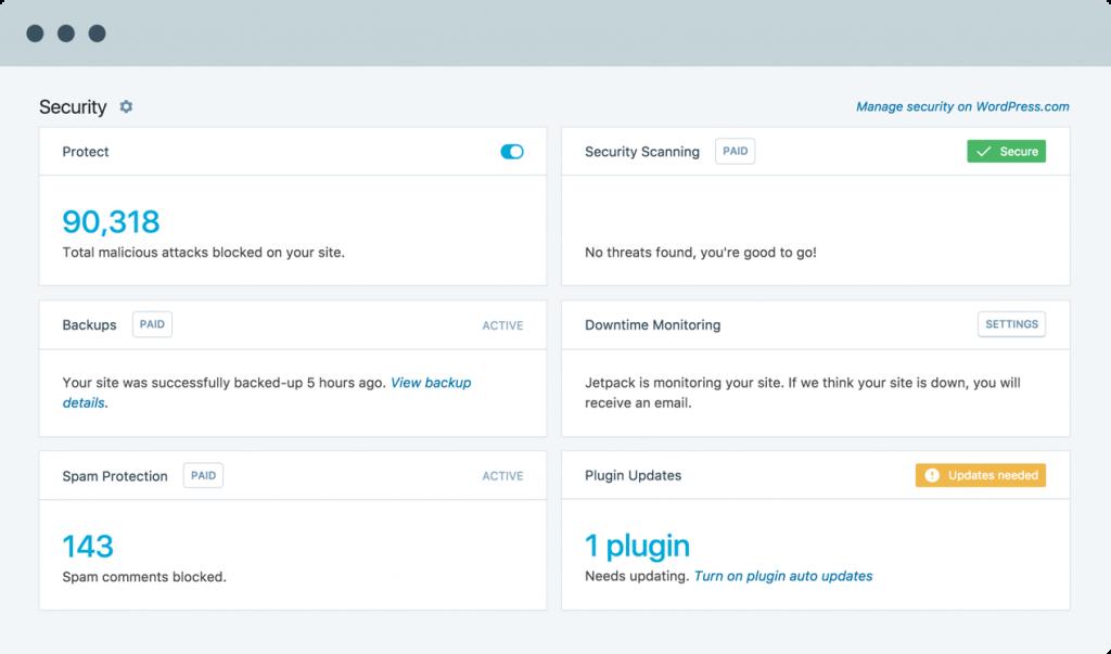 jetpack dashboard screenshot