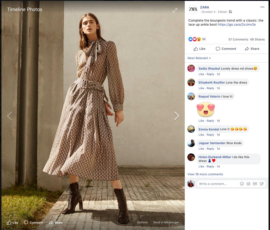 screenshot from Zara's facebook page