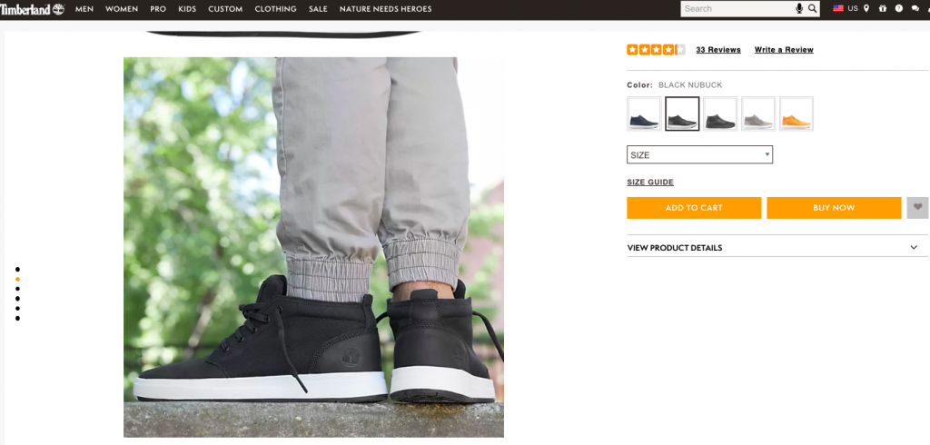 screenshot from Timberland's product page