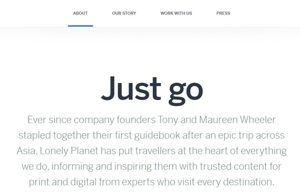 lonely planet about us page