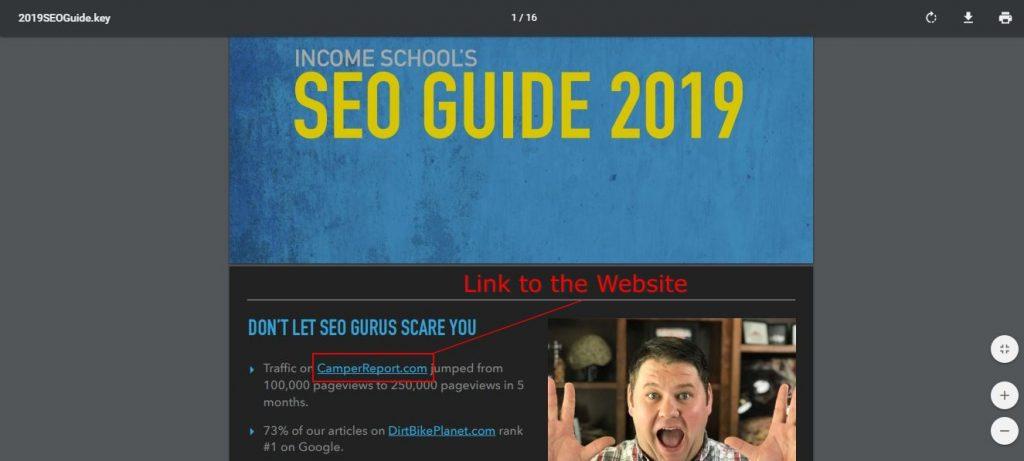 seo guide landing page screenshot