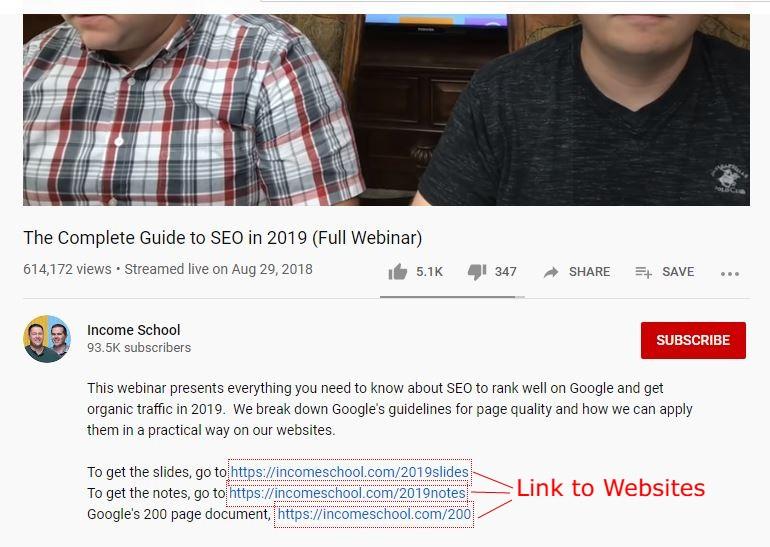 seo webinar screenshot hosted on youtube