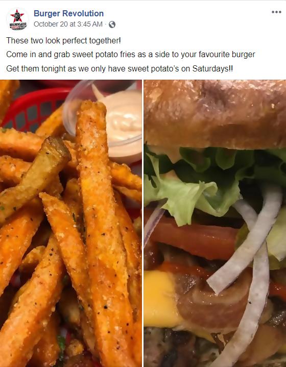 burger revolution's facebook post screenshot