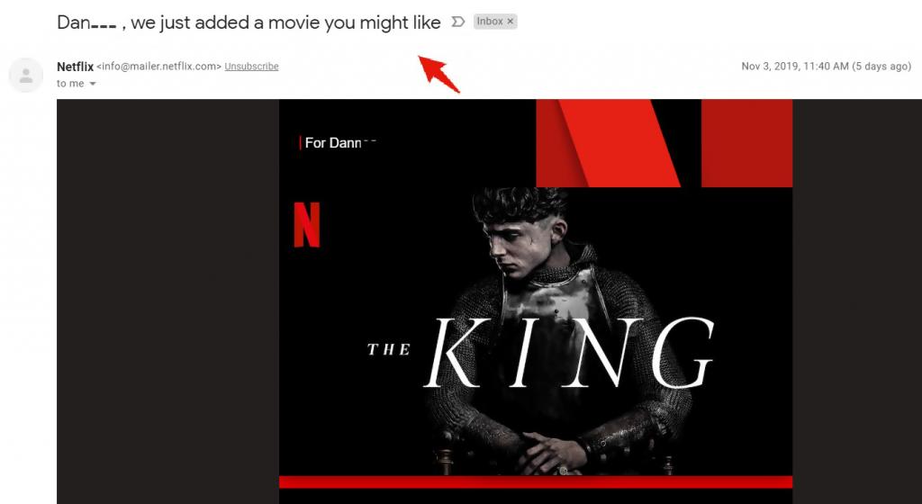 netflix's email screenshot