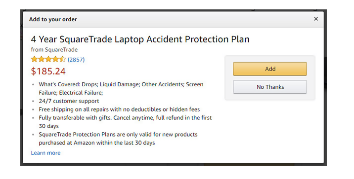 amazon product warranty screenshot