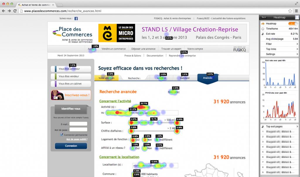 screenshot of heatmap being used on webpage