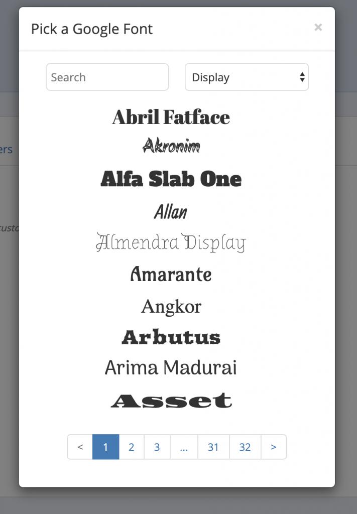 google fonts in mailmunch app