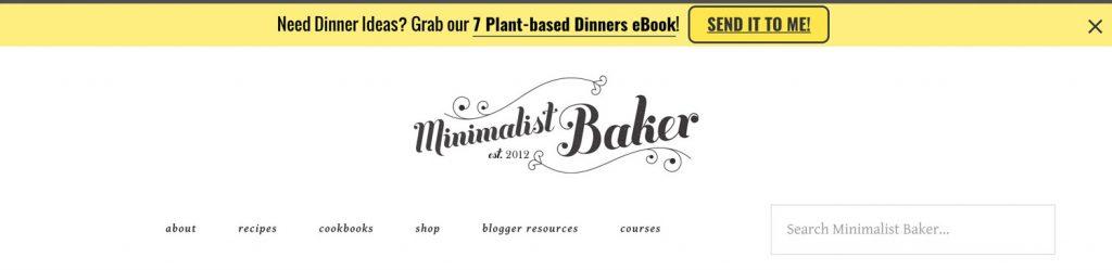 minimalist baker top bar