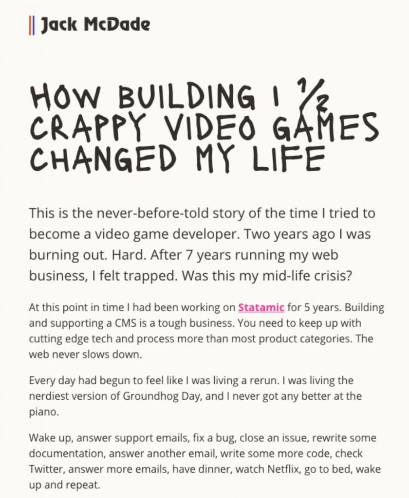 company story email screenshot