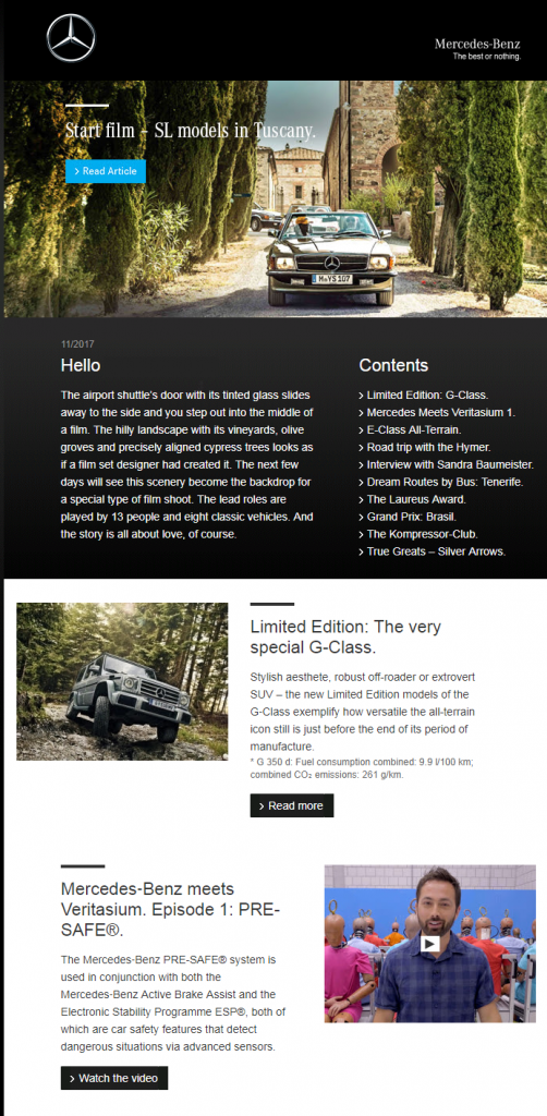 mercedes personalized email