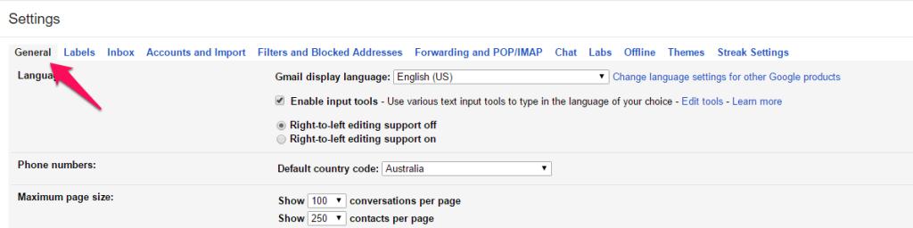 Gmail Settings General