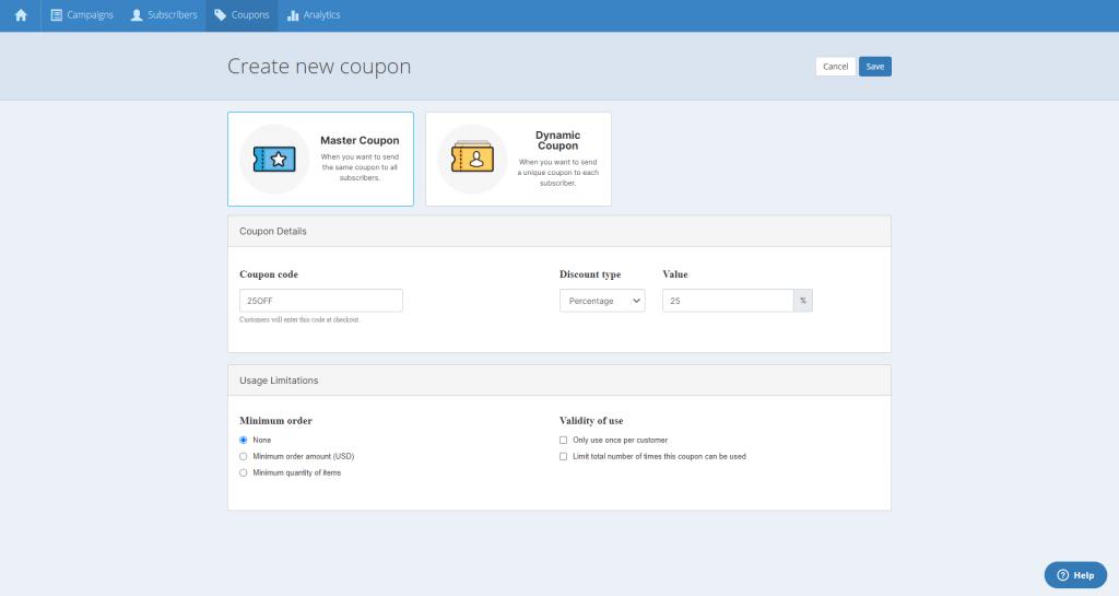 create new coupon menu