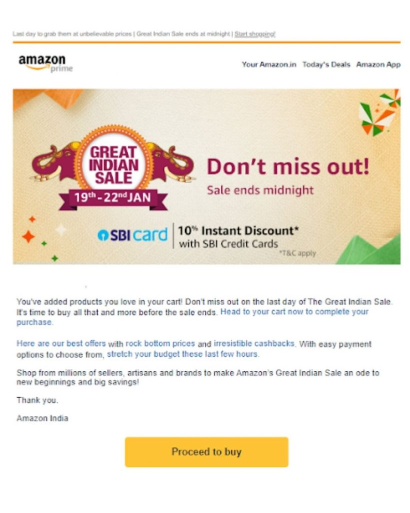 Example of Cart-abandonment Email