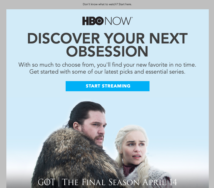 hbo email CTA