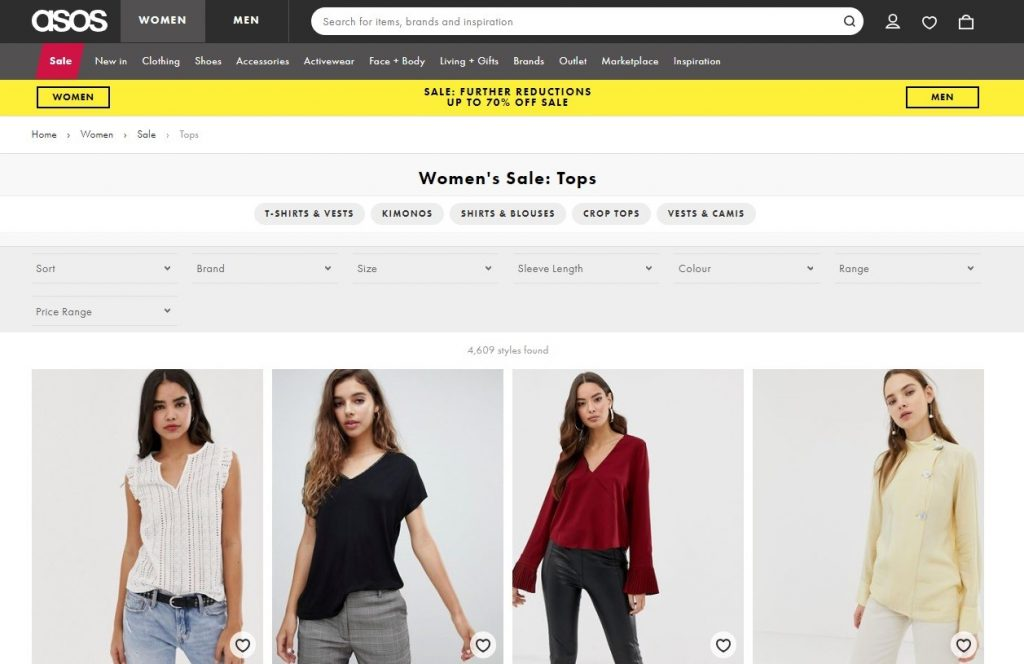 asos product categories