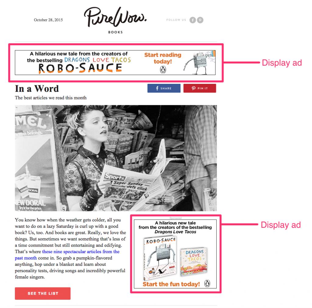 screenshot of display ads on a website