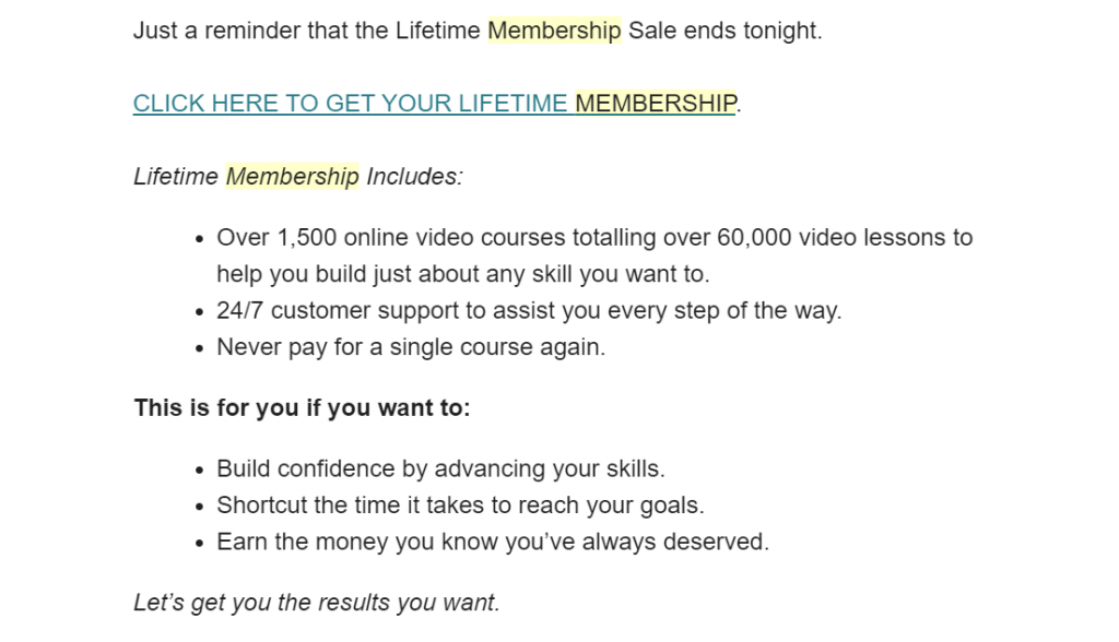 email promoting a membership program by stating its features and benefits