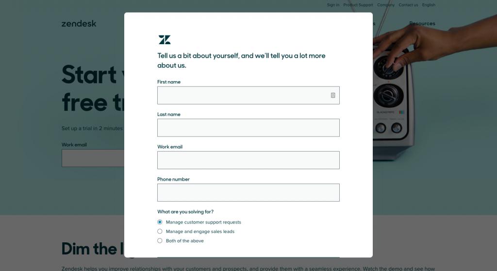 zendesk sign up form