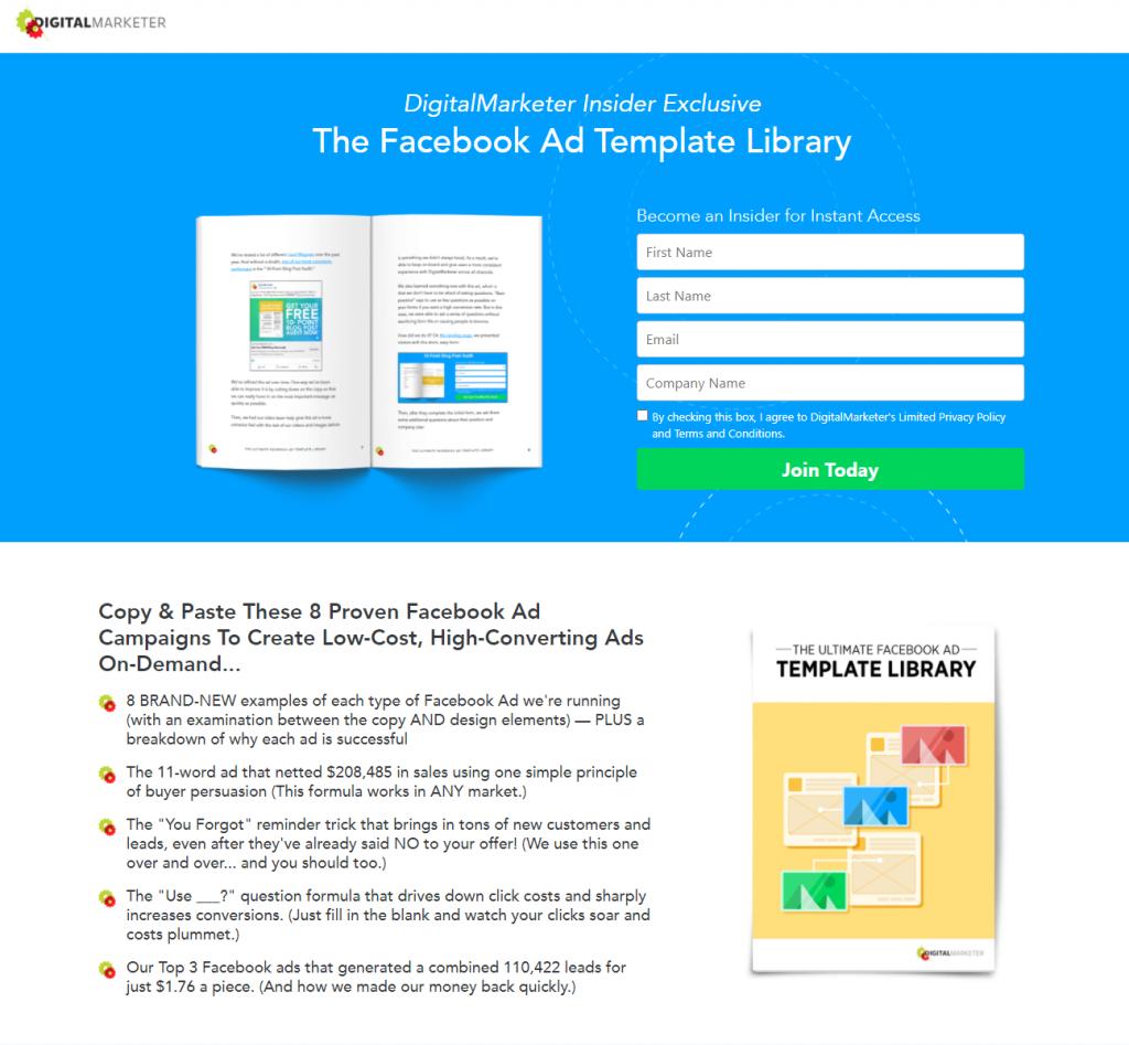 digital marketer's landing page