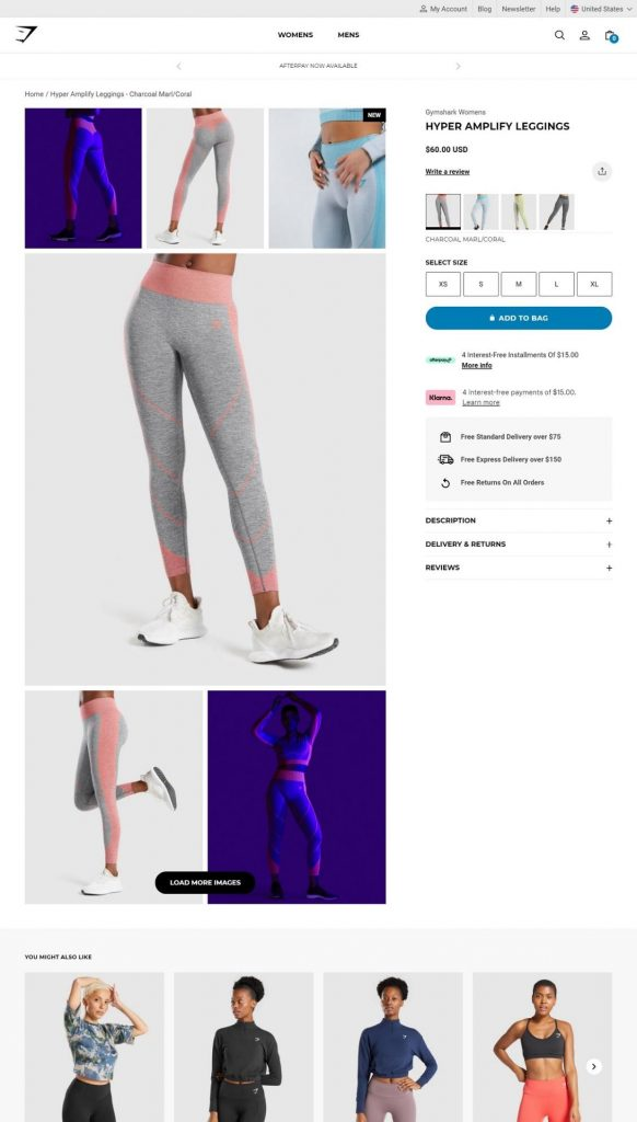 gymshark product page