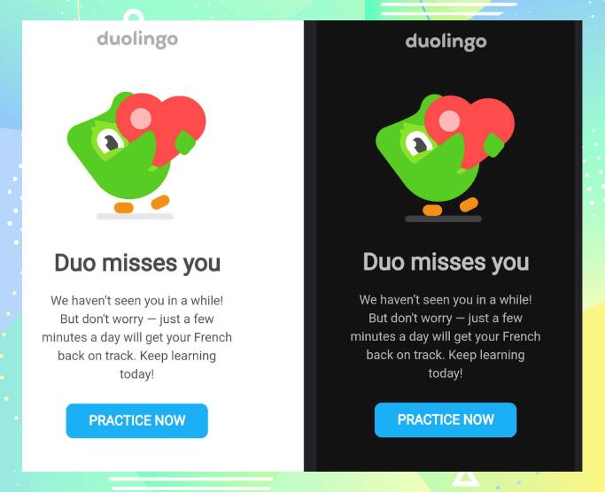 duolingo light and dark mode emails