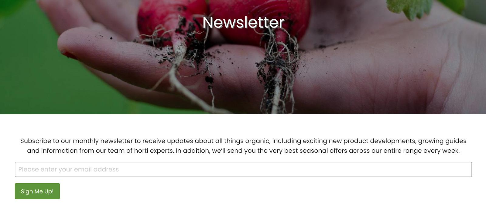 organic gardening catalogue newsletter
